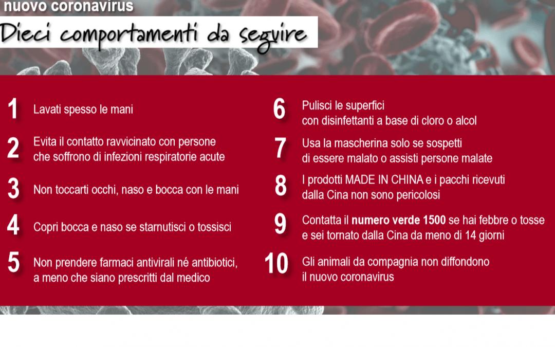 CORONA VIRUS (COVID-19) INFO E 10 COMPORTAMENTI DA SEGUIRE